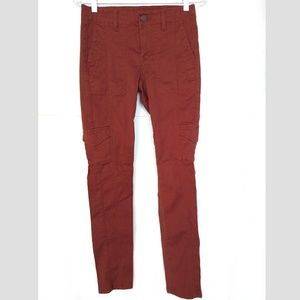 CAbi The Drifter Pants Skinny Cords Sz 2 Burnt Red